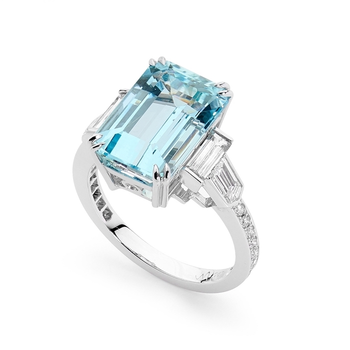 beautiful engagement rings, large square cut aquamarine, diamond studded band, white background