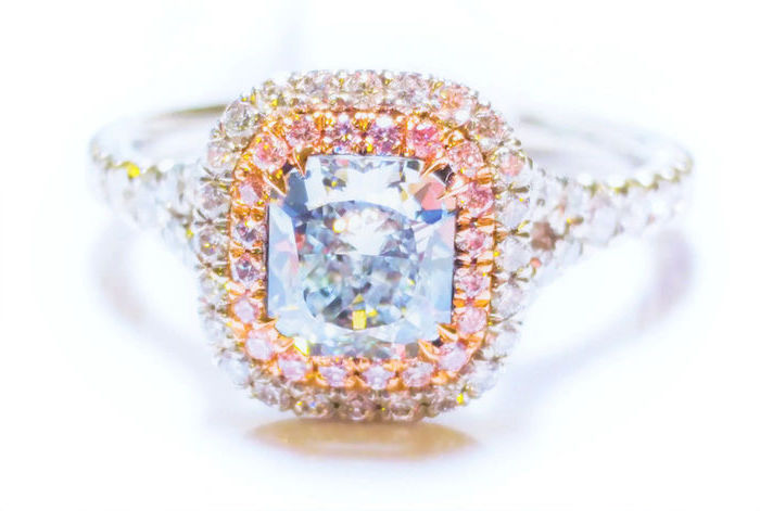 large square cut diamond, surrounded by morganite stones, engagement and wedding rings