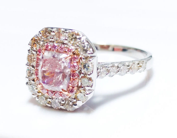 square cut morganite stone, diamond studded white gold band, engagement and wedding rings