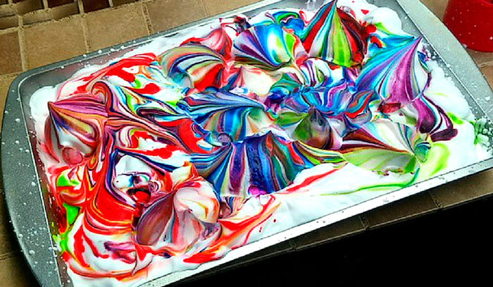 baking tray, full of shaving cream, what is easter egg, colourful dye, step by step, diy tutorial