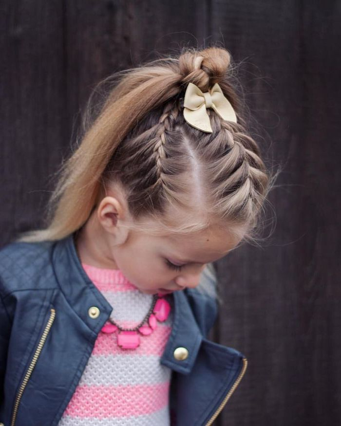 small beige bow, long blonde hair, flower girl hairstyles, braids ending in a ponytail, black leather jacket