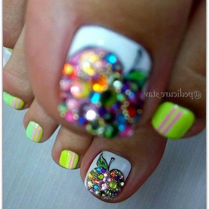 apple shaped with rhinestones on the toe, neon nail polish pedicure, nude nail designs
