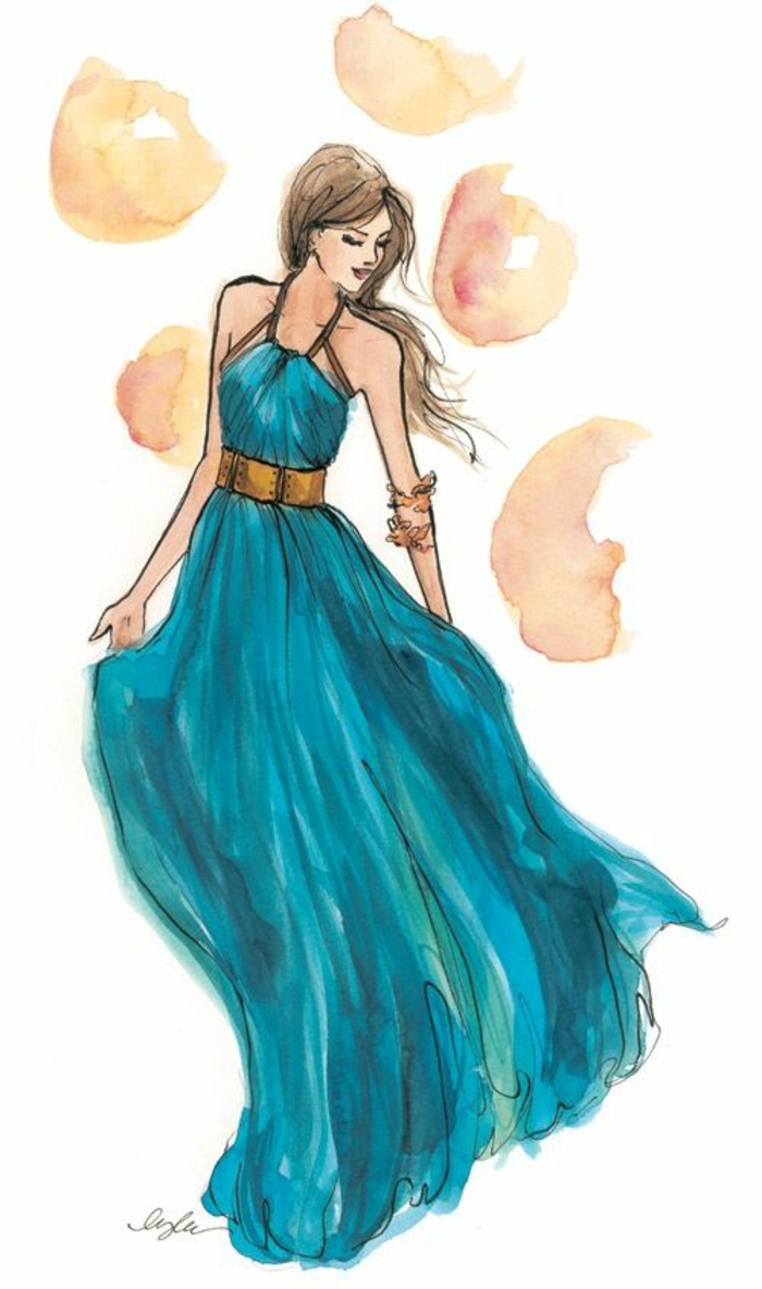 how to draw a person step by step, long blue dress, long brown wavy hair, bracelets on the hand