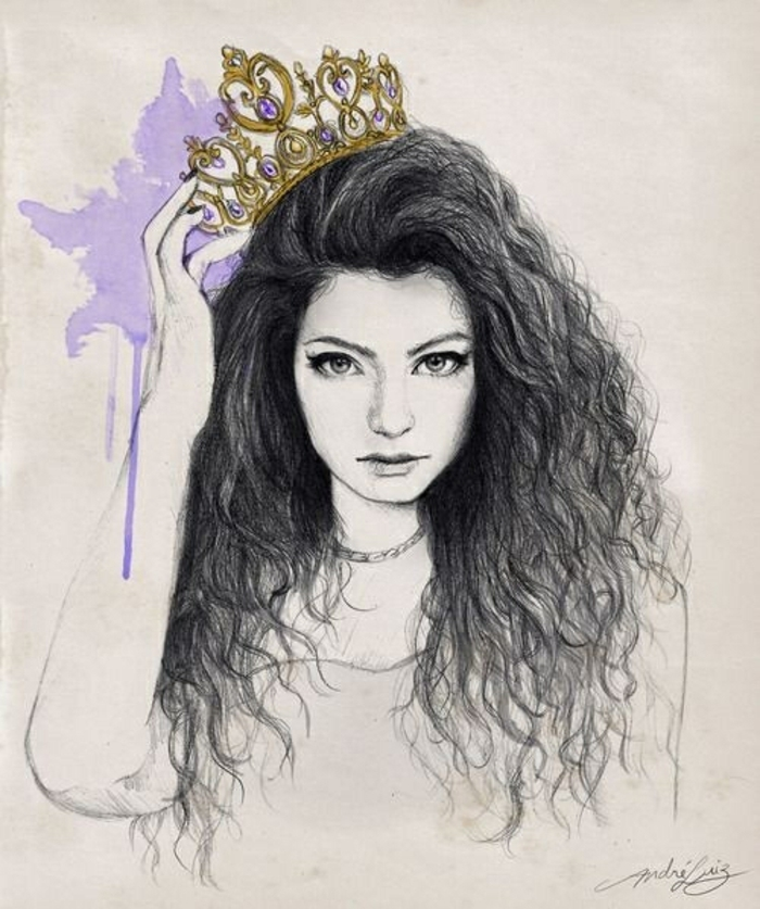 lorde inspired drawing, how to draw a person step by step, golden crown, black curly hair