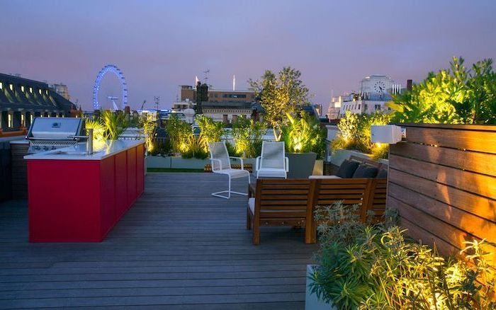 balcony with a view, of london eye, london landscape, garden furniture, small backyard designs, barbecue with a bar