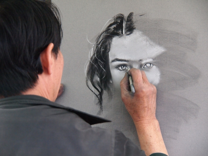 man drawing, grey background, how to draw a person step by step, drawing of a woman, black and white sketch