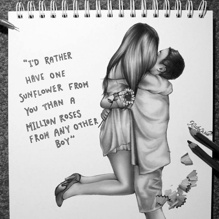 couple kissing, black and white sketch, cute drawings, man lifting the woman, inspirational quote
