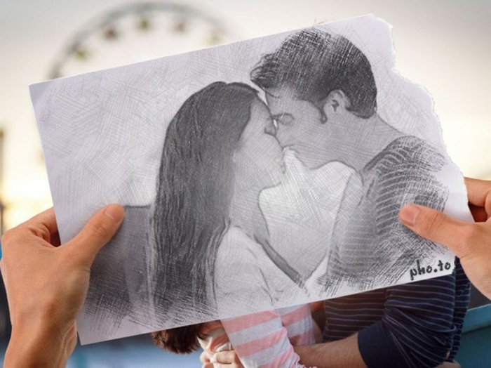 hands holding a drawing, cute drawings, couple kissing, black and white sketch