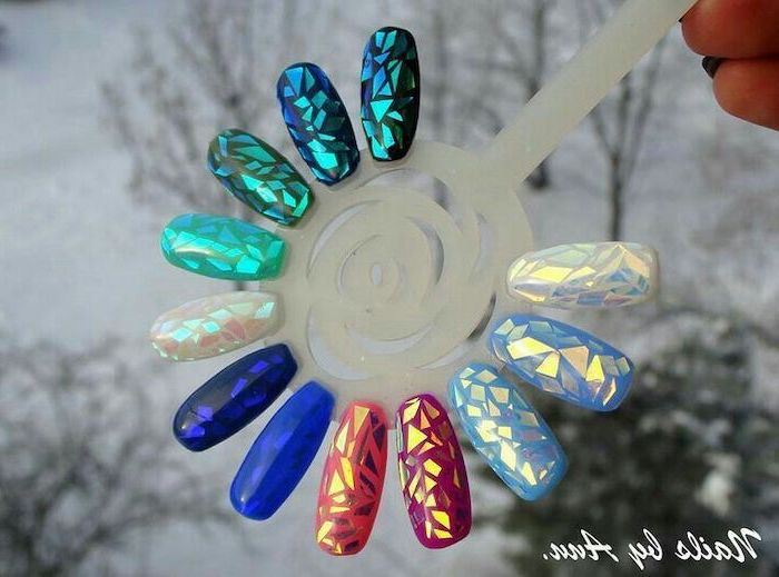 pretty nail designs, manicure palette, mirror like design, nails in different colours