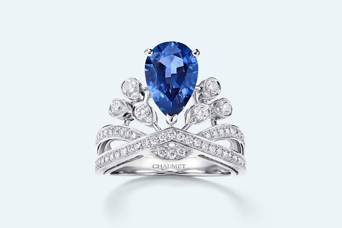 beautiful wedding rings, teardrop sapphire, diamond studded white gold band
