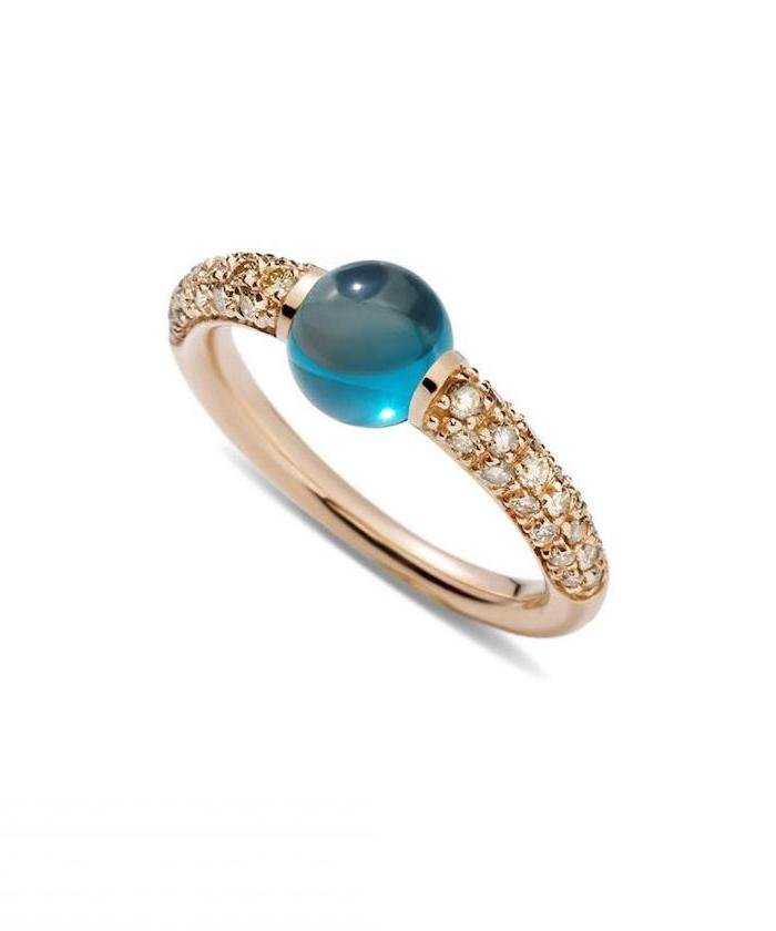 blue round opal stone, rose gold diamond studded band, beautiful wedding rings