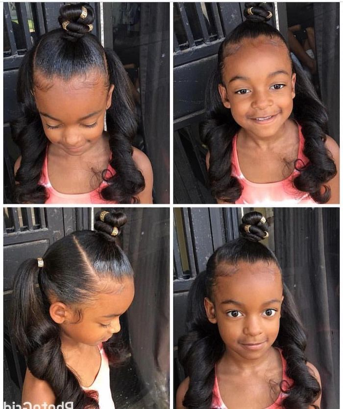 long black hair in two ponytails, small bun on the top of the head, kids braided hairstyles with beads