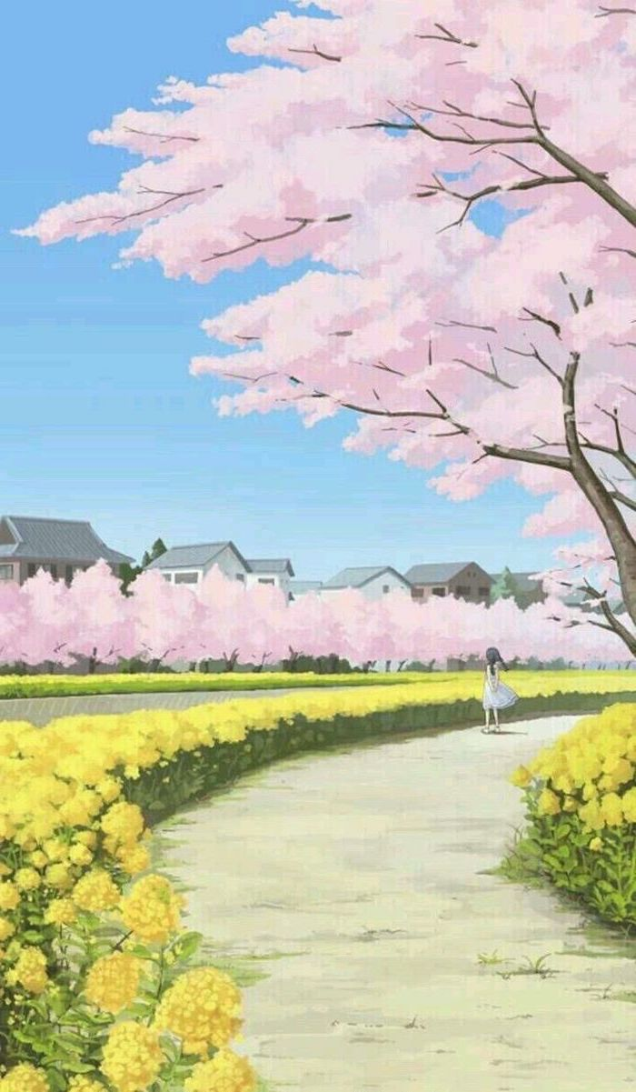 beautiful landscape painting, spring wallpaper, phone wallpaper, girl walking down a pathway, large blooming trees