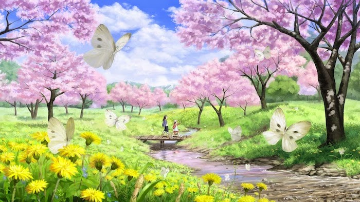 beautiful painting, spring pictures, pink trees blooming, along a running river, girls walking on a wooden bridge