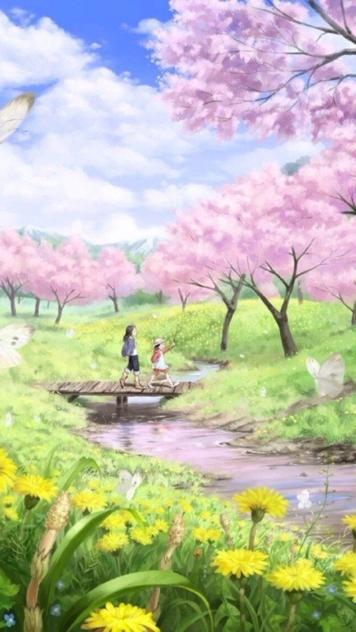 pink blooming trees along a river, spring background images, two girls walking across a wooden bridge