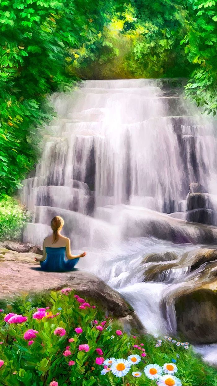 waterfall painting, woman meditating, spring background images, phone wallpaper, trees and flowers around