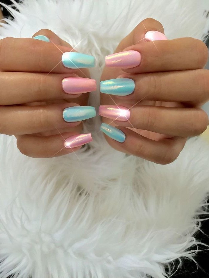 cute nail designs, pink and blue chrome nail polish, set of hands photographed, next to each other