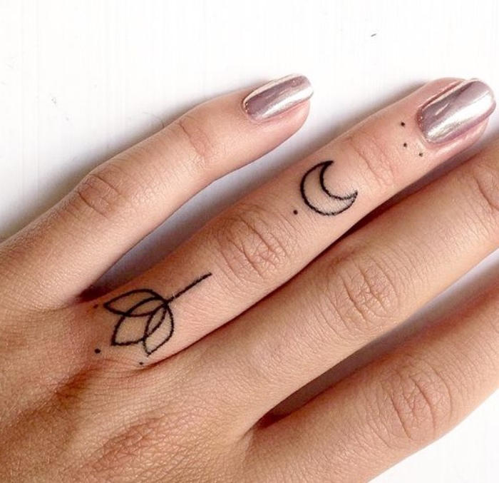 lotus flower crescent moon dots finger tattoos, small butterfly tattoos, chrome nail polish
