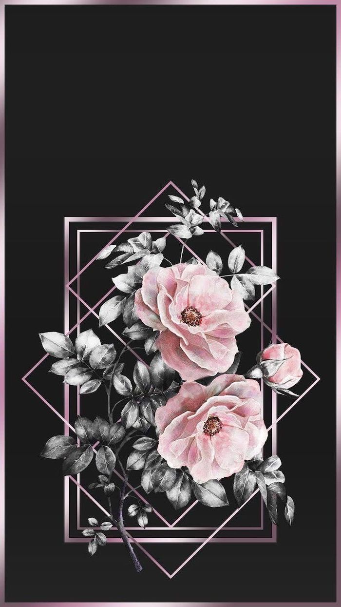 geometrical drawing, of pink peonies, happy spring images, black background, phone wallpaper