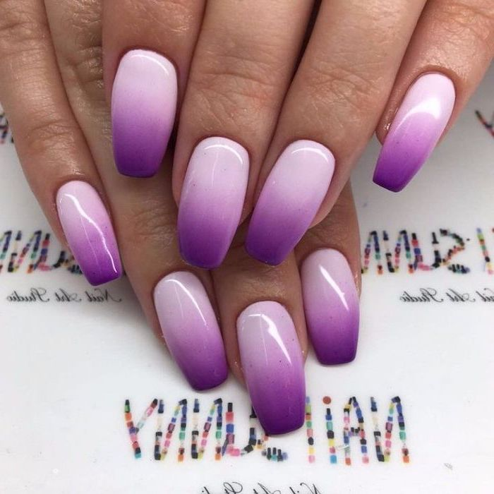 pink and gold nails, light and dark purple ombre nail polish, both hands photographed
