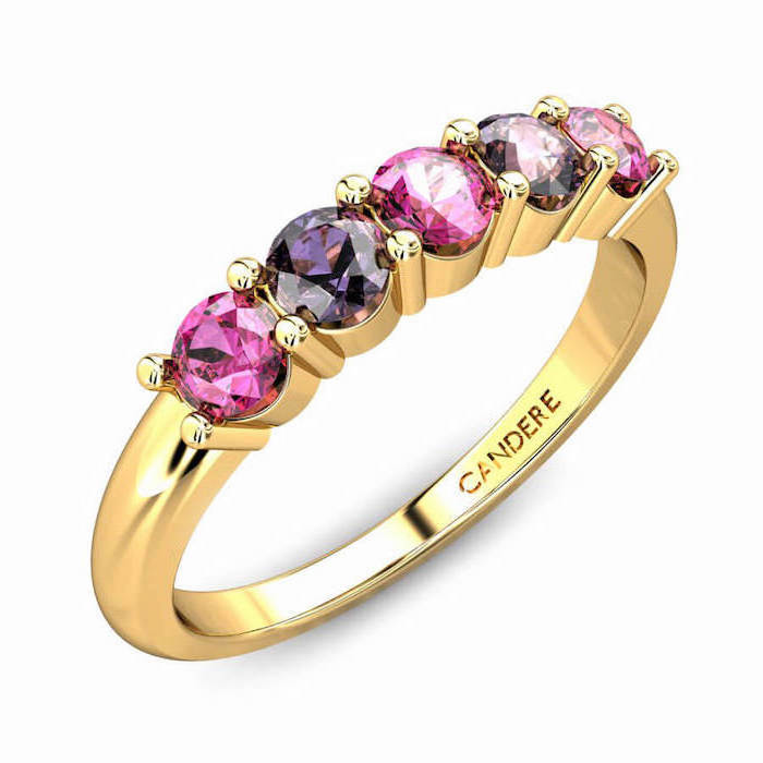 pink and purple sapphires, unique engagement rings for women, golden band, white background