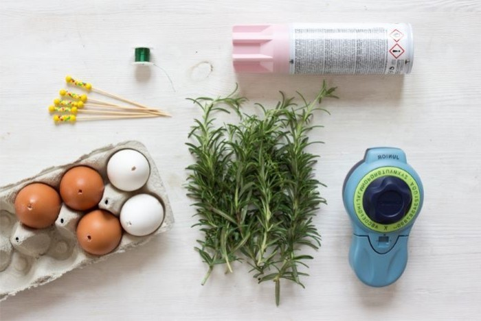 rosemary branches, step by step diy tutorial, easter centerpieces, label maker, pink spray paint
