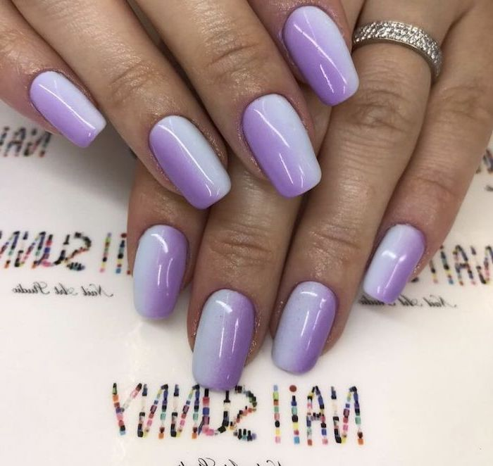 blue and purple ombre nail polish, long squoval nails, both hands photographed, pink and gold nails
