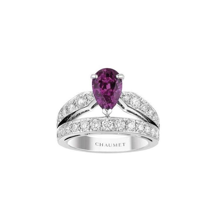 teardrop shaped purple sapphire, unique engagement rings for women, diamond studded band