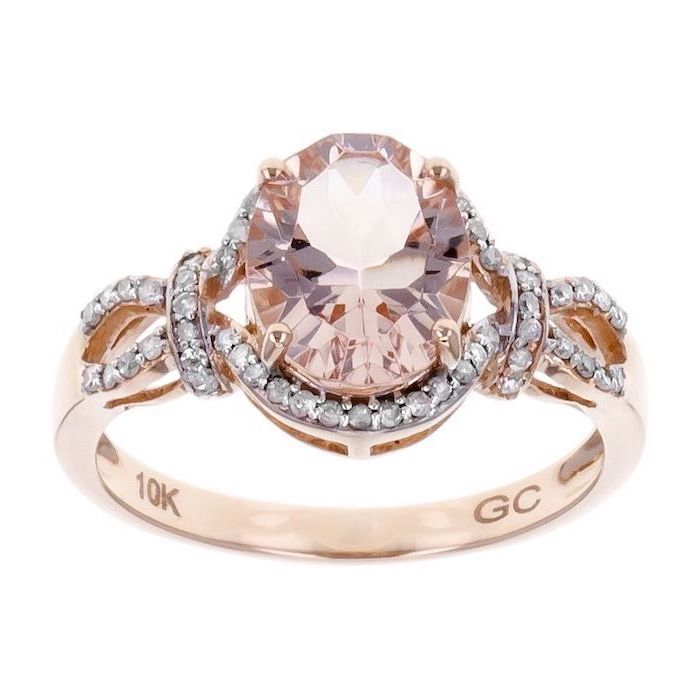 morganite stone in the middle, surrounded by small diamonds, rose gold band, unique engagement rings for women