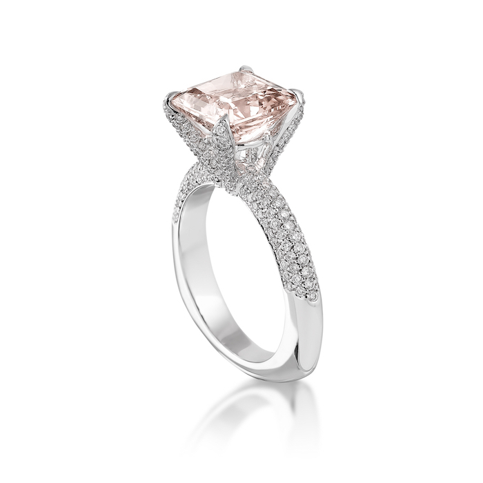 square cut morganite stone, diamond studded white gold band, wedding rings for her, white background