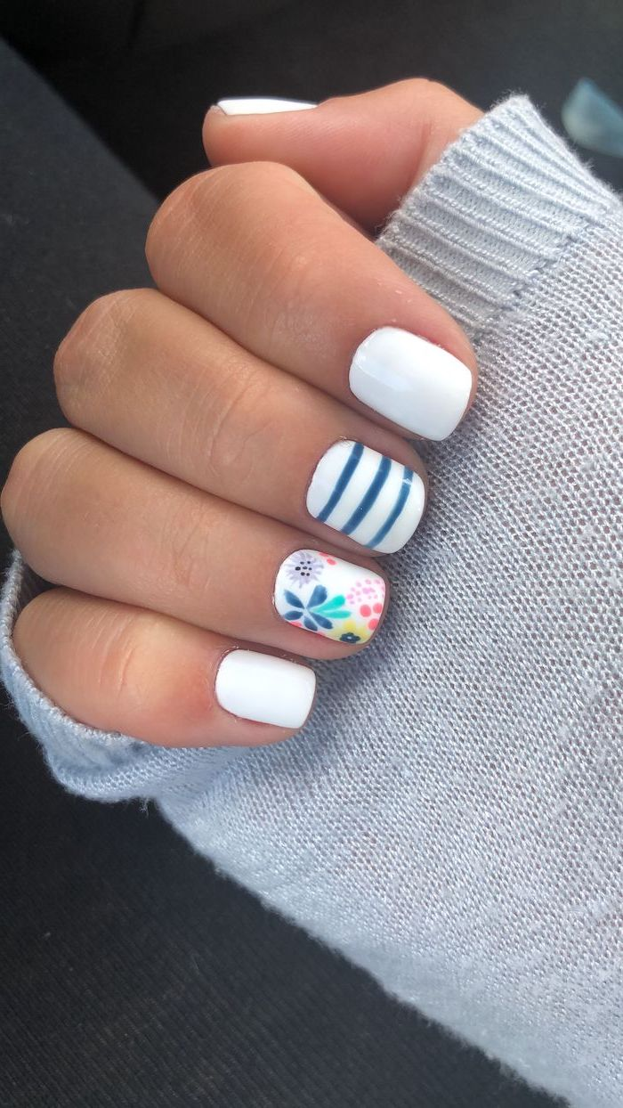 white and blue nail polish, floral manicure, trending nail colors, short square nails, grey sweater