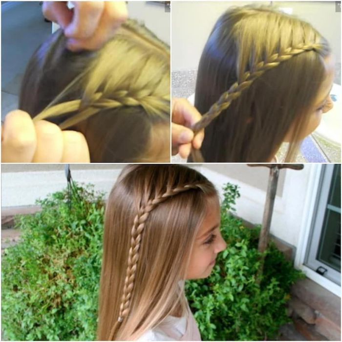 easy braid hairstyles, long blonde hair, side braid, large grass bush, one set of hands