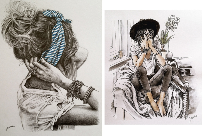 side by side drawings, girl with a messy bun and bandana, girl sitting on a chair, how to draw a girl step by step