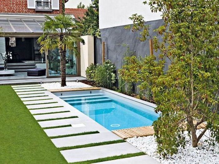 small swimming pool, small backyard patio ideas, ceramic tiles on the grass patch, planted palm trees and bushes