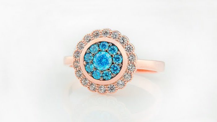 sapphires and diamonds in a flower shape, unique wedding rings for women, rose gold band