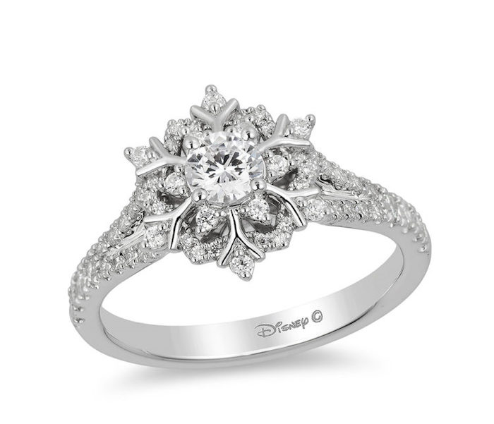 diamond studded band, engagement rings for women, elsa disney princess inspired ring, snowflake shaped diamond
