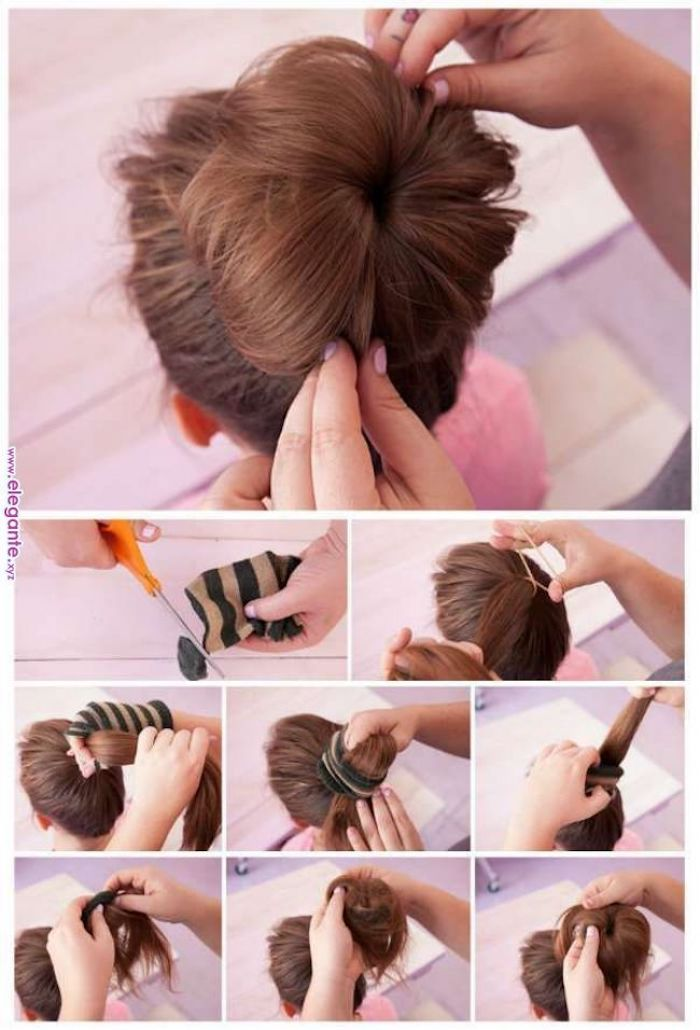 pink background, easy braid hairstyles, messy bun, done with a sock, long brown hair
