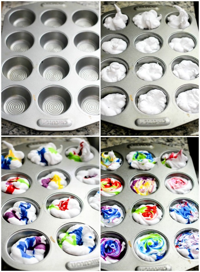 step by step, diy tutorial, muffin baking tray, full of shaving cream, easter egg decorating, colourful dye