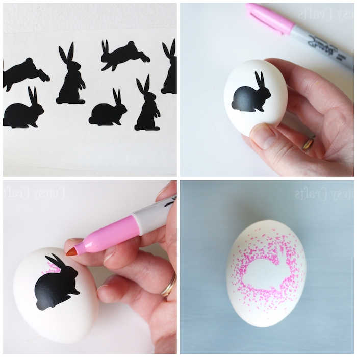 step by step, diy tutorial, sharpie bunny eggs, easter egg painting, bunny stickers, white egg, pink sharpie