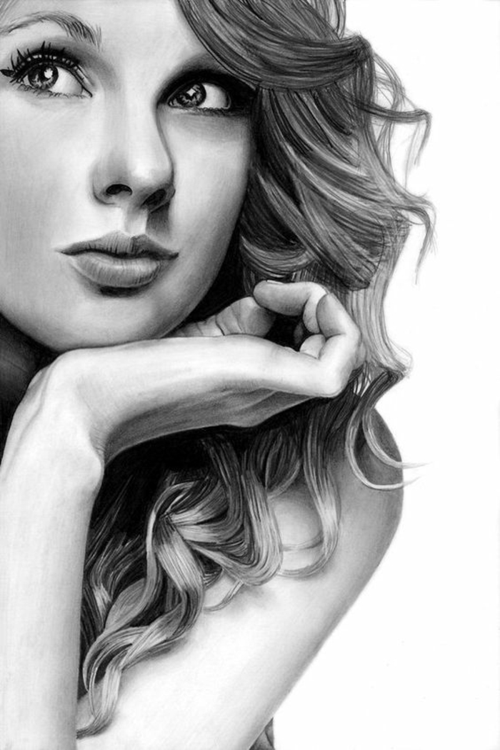 taylor swift inspired drawing, how to draw a girl step by step, black and white sketch