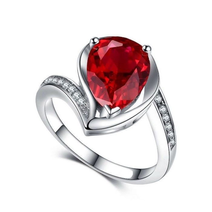 teardrop shaped ruby, diamond studded white gold band, diamond band engagement rings