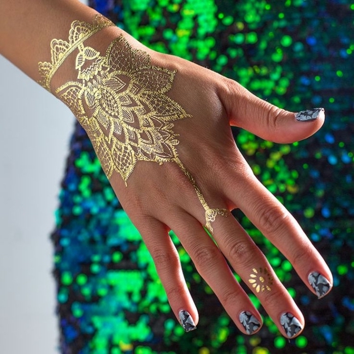 golden henna tattoo, temporary tattoo, finger tattoos for girls, blue and green sequinned dress