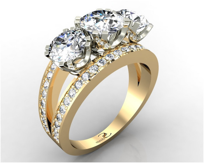 three round diamonds, diamond band engagement rings, golden diamond studded band