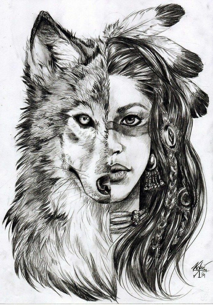 indian tribes inspired drawing, how to draw a girl step by step, half wolf, half woman, wearing feathers