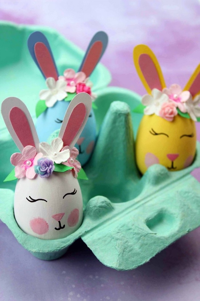 bunny eggs, diy tutorial, dyed eggs, with ears and flower crowns, dying eggs with shaving cream