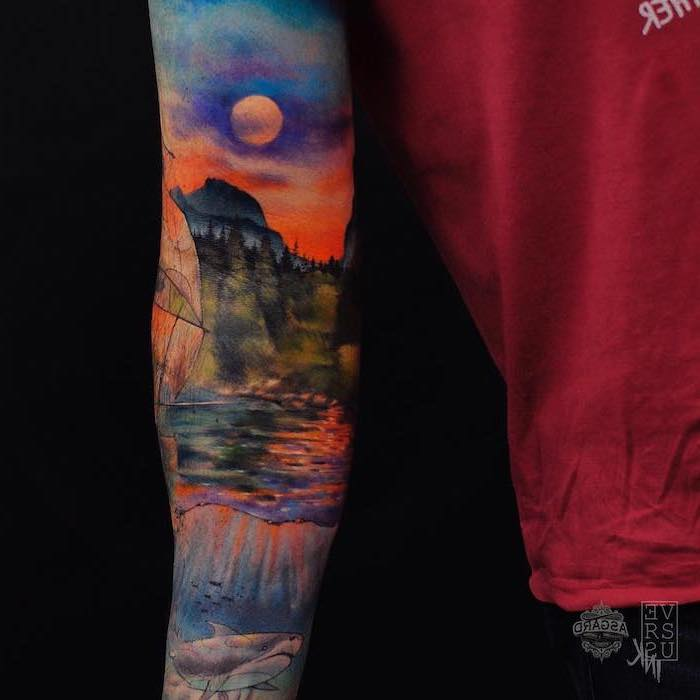 island landscape, watercolour arm sleeve tattoo, small meaningful tattoos, black background, red shirt