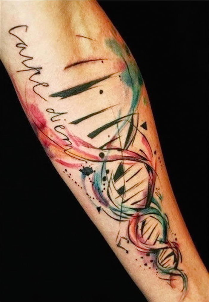 watercolour tattoo, carpe diem, dna strand, forearm tattoo, in front of a black background, meaningful tattoos