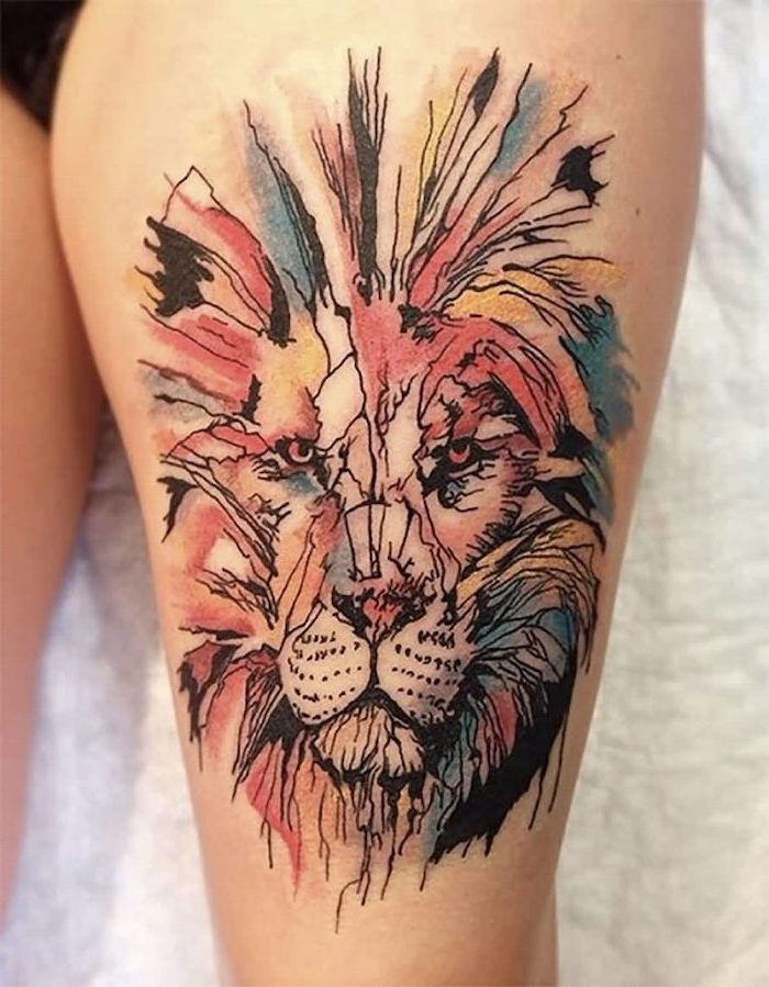large lion head, watercolour tattoo, white background, small meaningful tattoos