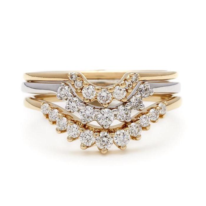 small diamonds in the shape of a tiara, gold and white gold bands, square cut engagement rings