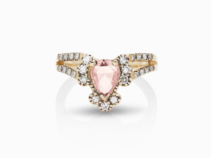 double band engagement ring, morganite teardrop shaped stone, diamond studded golden band